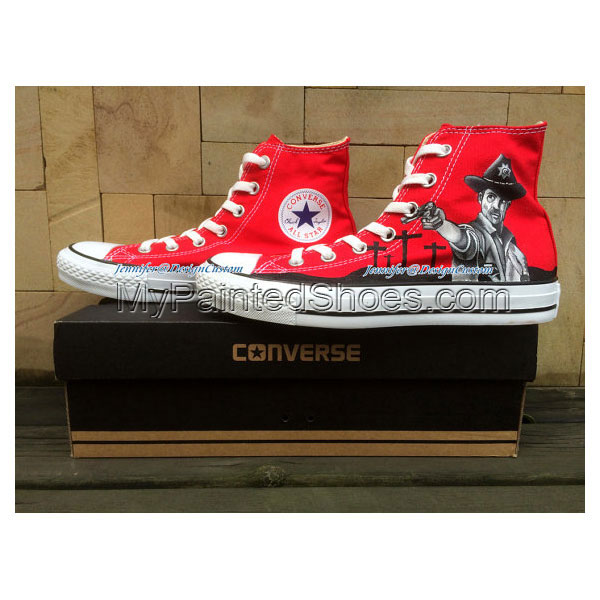Design Red Hand Painted Shoes Custom Painted Shoes Canvas Shoes -1