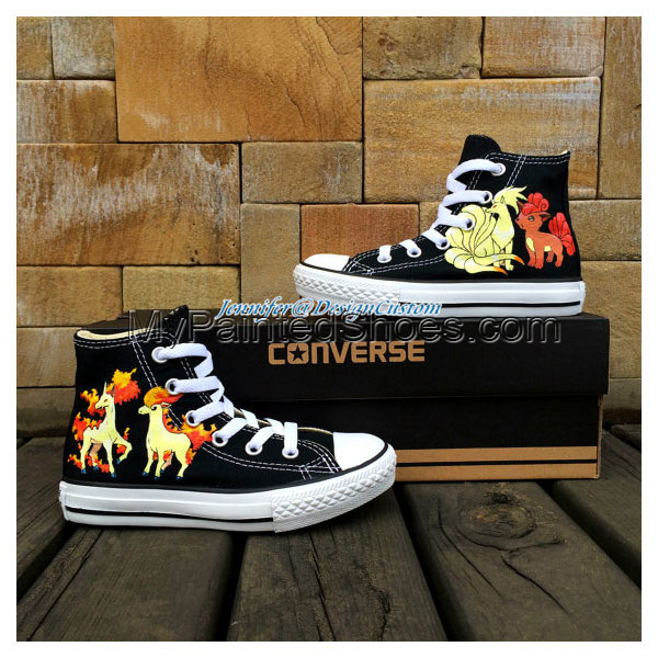 Black Anime Hand Painted Shoes Anime Shoes Birthday Gifts Custom-1