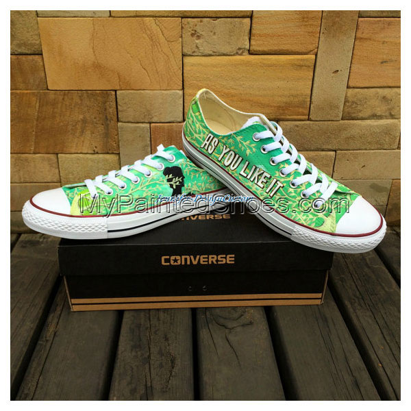 Green Low Top Hand Painted Shoes handmade Painted Shoes Canvas S