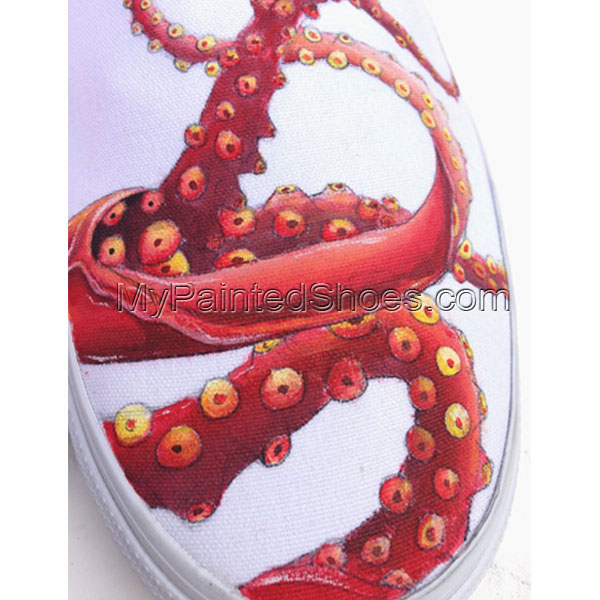 Hand Painted Vans for Men Women Custom Design Slip On Octopus an-3