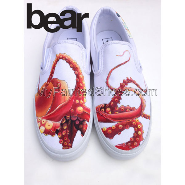 Hand Painted Vans for Men Women Custom Design Slip On Octopus an