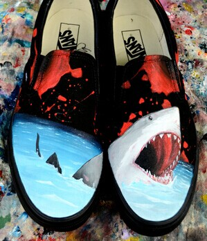 Customizable Vans Great White Shark Hand Painted Canvas Shoes An-1