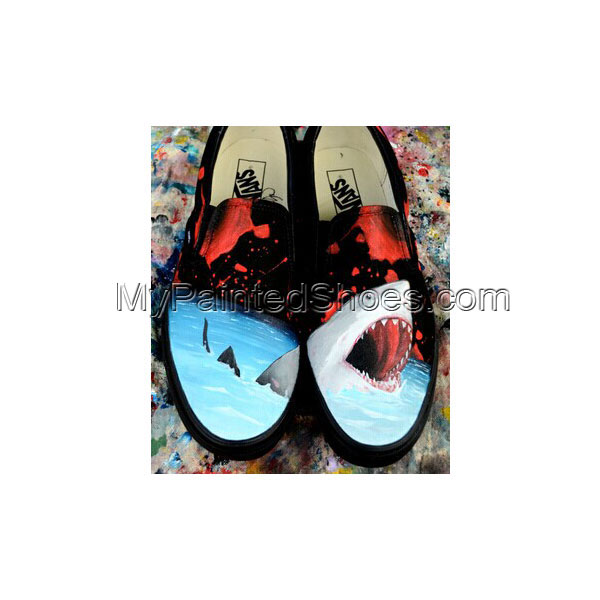 Customizable Vans Great White Shark Hand Painted Canvas Shoes An