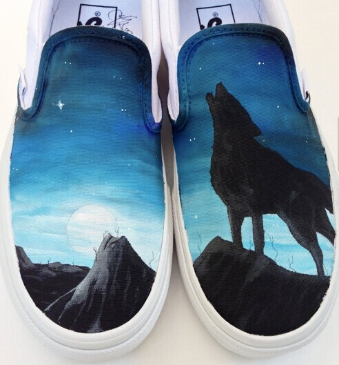 Custom Hand Painted Vans Shoes Wolf Moon and Stars Design Fashio-1