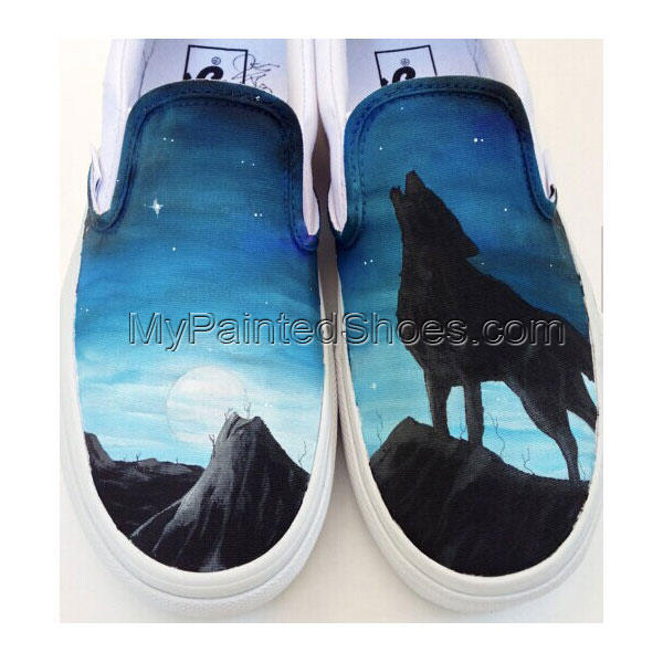 Custom Hand Painted Vans Shoes Wolf Moon and Stars Design Fashio