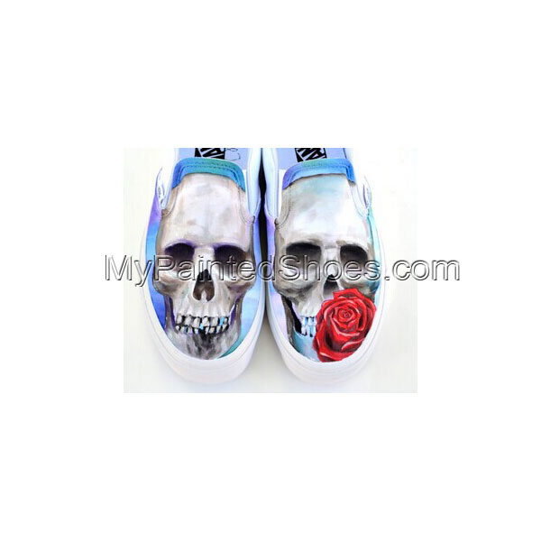 Skull and Rose Shoes Design Fashion Shoes for Men Women