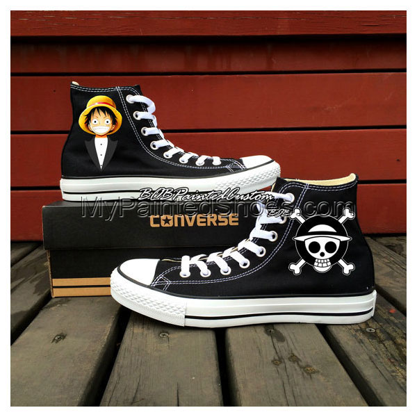 One Piece Anime Shoes Chuck Taylor Hand Painted Black Canvas Sho-1