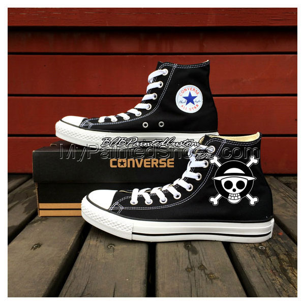 One Piece Anime Shoes Chuck Taylor Hand Painted Black Canvas Sho-2