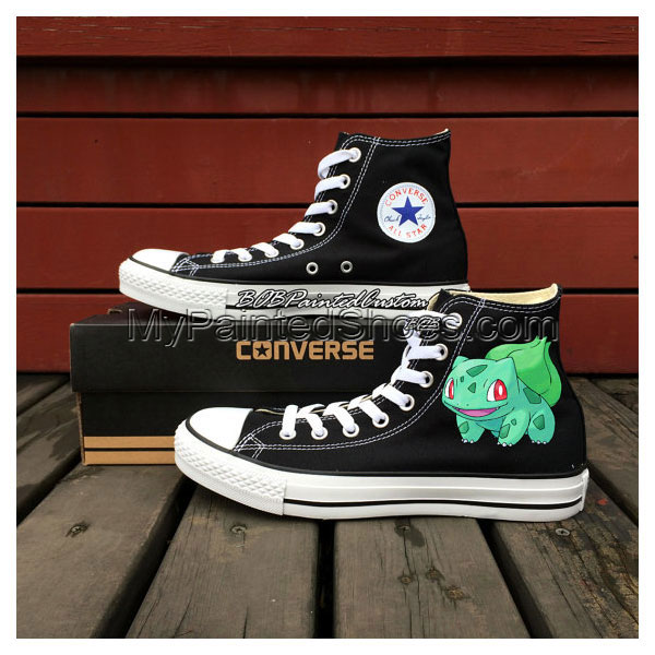 Black Chuck Taylor Shoes Kids Adult Hand Painted Pokemon Bulbasa-1