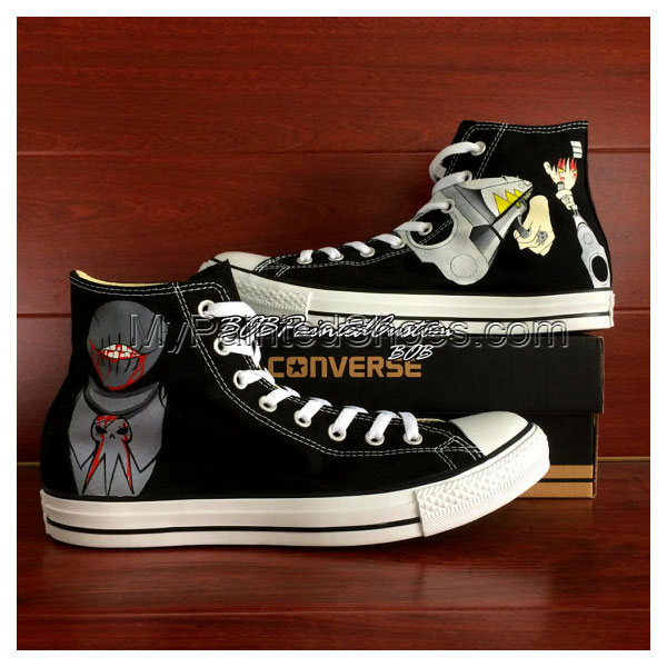 Soul Eater Black Chuck Taylor Sneaker Hand Painted Anime Shoes f-1