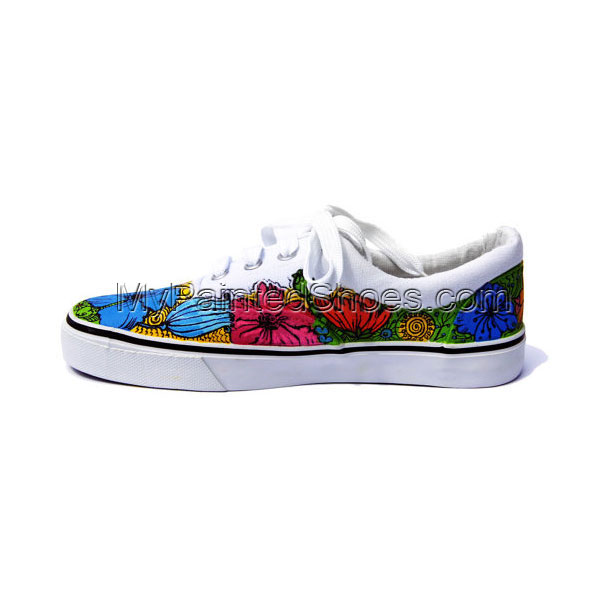 Hand Painted Converse - Flowers Sneakers, Personalized Vans, Cus-1