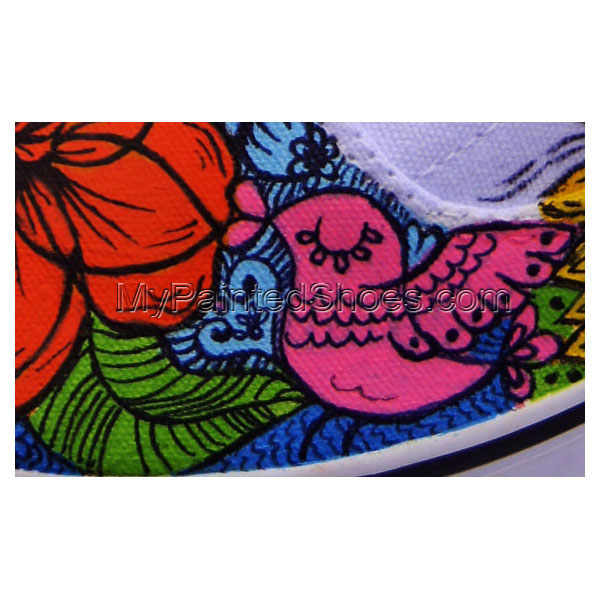 Hand Painted Converse - Flowers Sneakers, Personalized Vans, Cus-4