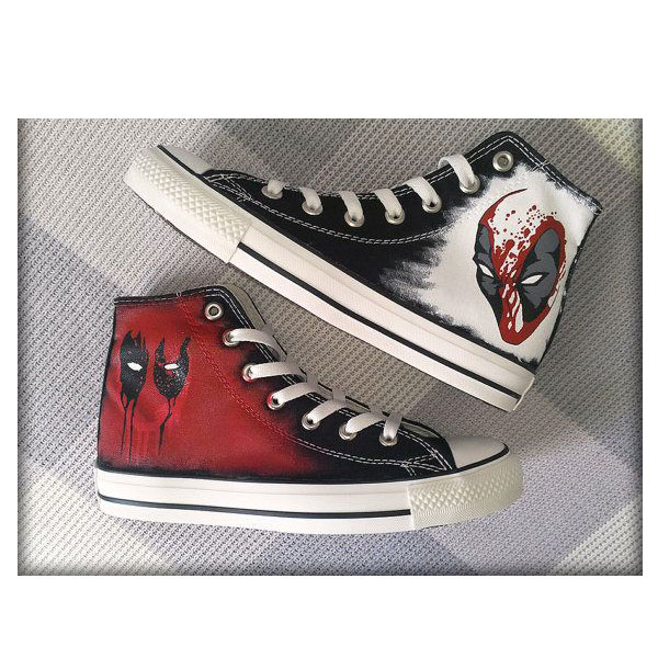 Deadpool Custom Converse Painted Shoes-1