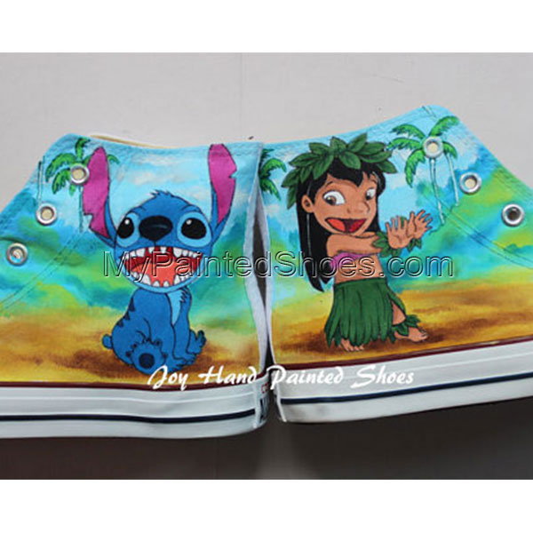Lilo and Stitch Anime Shoes Hand Painted Shoes High Top Anime Sh-1