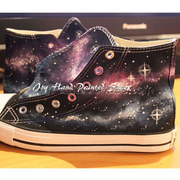 Galaxy Converse All Star Converse Shoes Hand Painted Shoes Hand -3