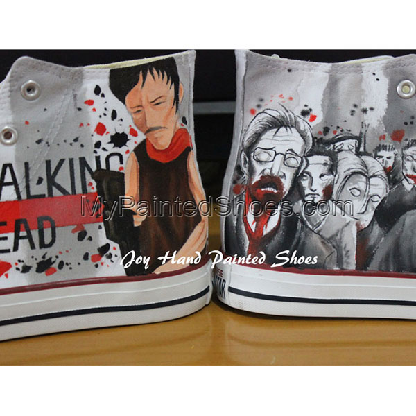 The Walking Dead Converse Converse Shoes Painted Custom Shoes Bi-2