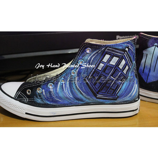 Converse All Star Doctor Who Black Canvas Shoes with Hand Painti-1