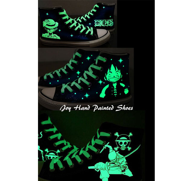Fashion Glow in the Dark Shoes One Piece Anime Sneakers Hand Pai