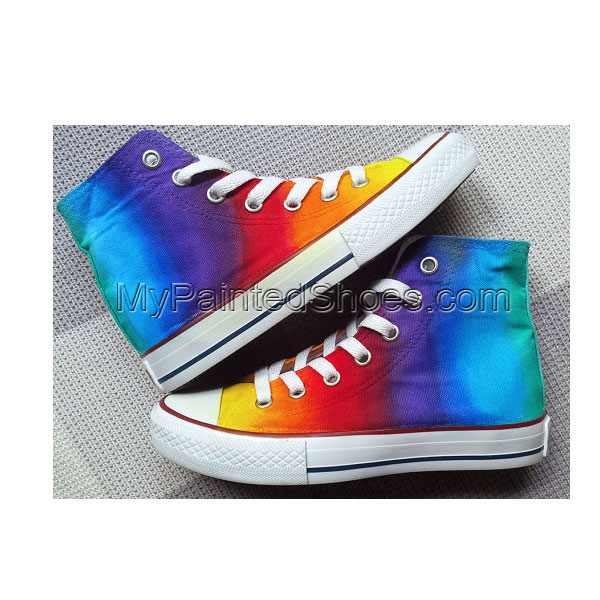 Rainbow Custom Shoes Colorful Painted Shoes