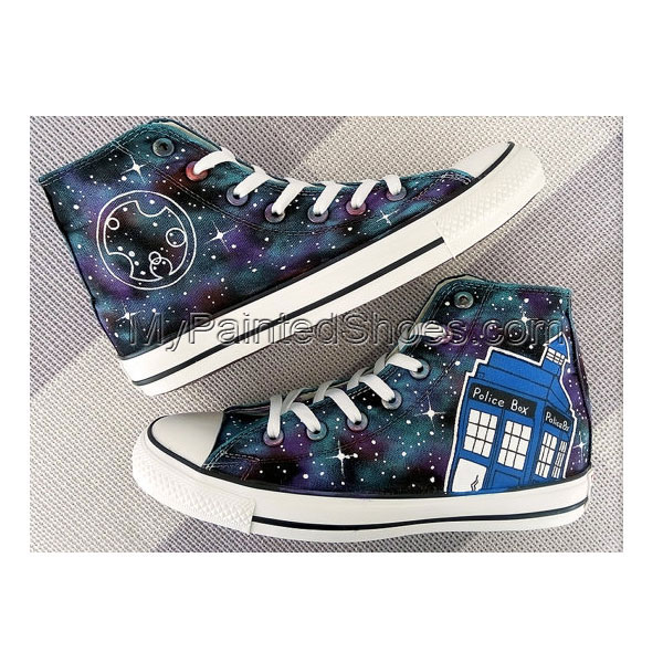 Your Name in Custom Doctor Who Galaxy Painted Shoes