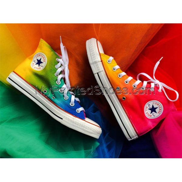 Rainbow Tie Dye Custom Shoes Painted Shoes