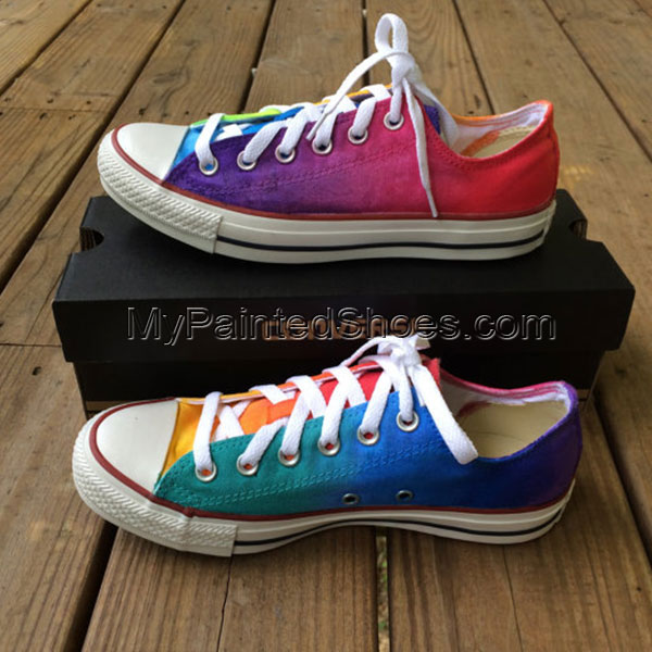 Rainbow Tie Dye Custom Shoes Painted Canvas Shoes-2