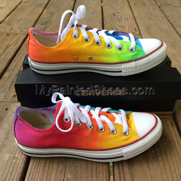 Rainbow Tie Dye Custom Shoes Painted Canvas Shoes
