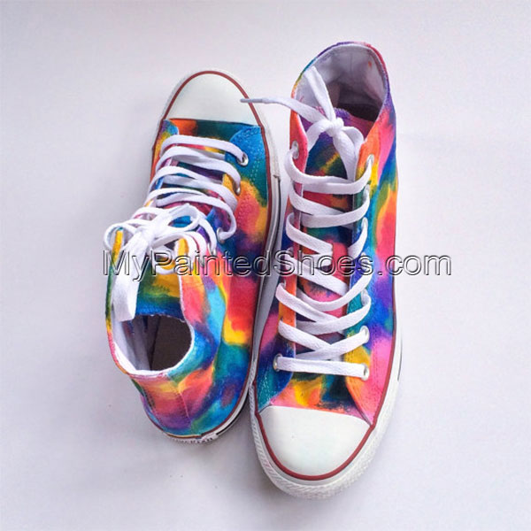 Rainbow Unicorn Vomit Tie Dye Custom Shoes Hand Painted Shoes-1