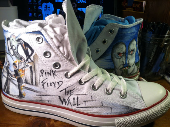 One of a kind Hand Drawn Pink Floyd Shoes-1