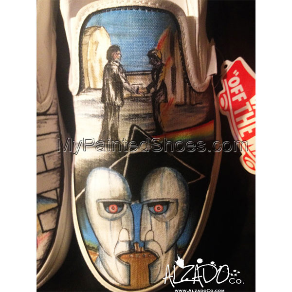 One of a kind Hand Drawn Pink Floyd Shoes-2