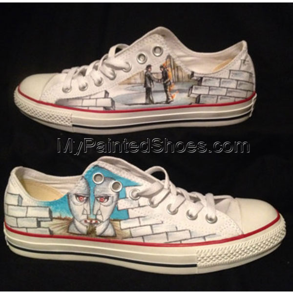 One of a kind Custom hand drawn Pink Floyd shoes