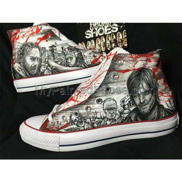 One of a kind Hand drawn the Walking Dead shoes