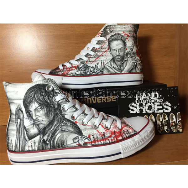 The Walking Dead Shoes Custom High-top Painted Canvas Shoes-2