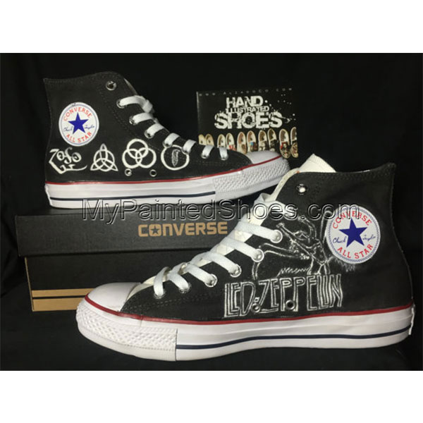 Hand drawn Led Zeppelin Shoes High-top Painted Canvas Shoes-1