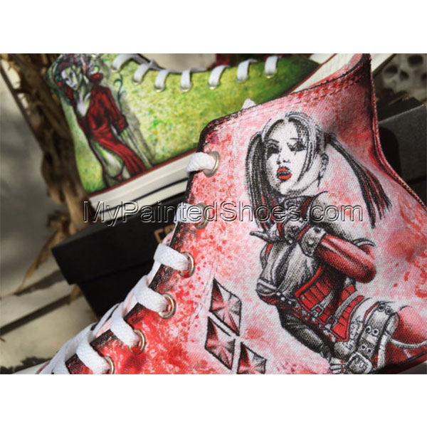 Hand drawn Harley Quinn and Poison Ivy shoes-1