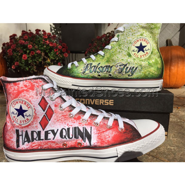 Hand drawn Harley Quinn and Poison Ivy shoes-2