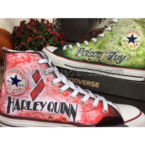 Hand drawn Harley Quinn and Poison Ivy shoes-3