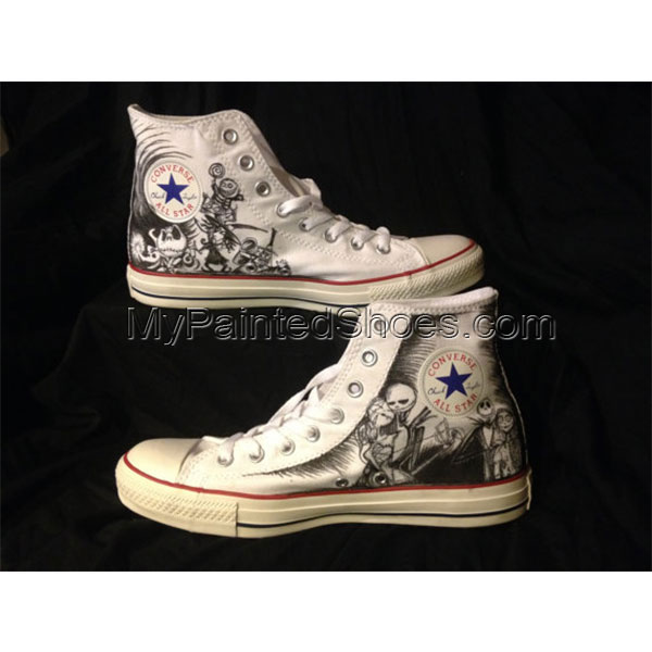Nighmare before christmas Shoes High-top Painted Canvas Shoes-1