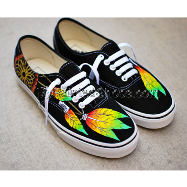 Dream Catcher Vans Custom Hand Painted Black Vans Painted Feathe