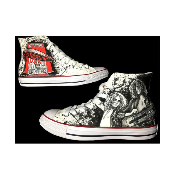 Led Zeppelin High-top Painted Canvas Shoes