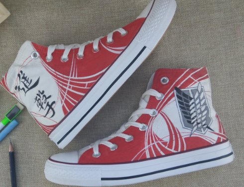 Attack on Titan Anime Shoes Red High Top Hand Painted Canvas Sho-2