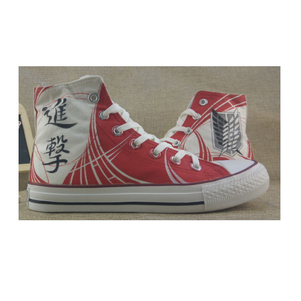 Attack on Titan Anime Shoes Red High Top Hand Painted Canvas Sho