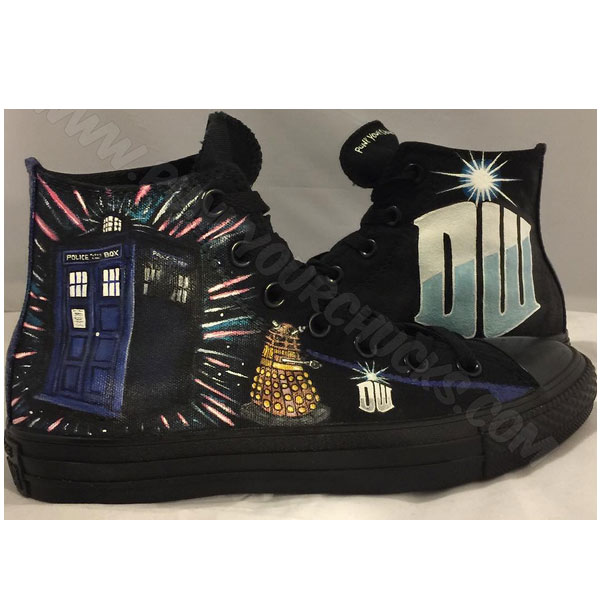 Hand Painted Dr. Who Custom Chuck Taylors