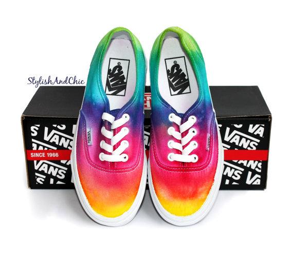 Tie Dye Rainbow Vans Canvas Shoes-1