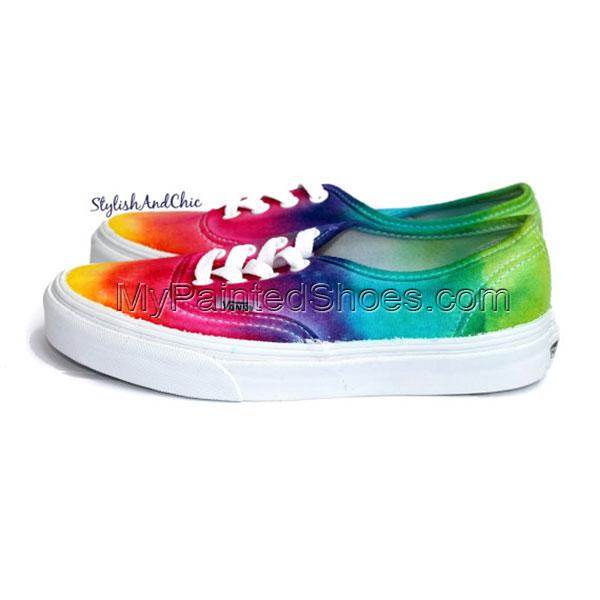 Tie Dye Rainbow Vans Canvas Shoes-2