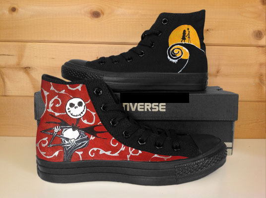 The Nightmare Before Christmas High-top Painted Canvas Shoes-1