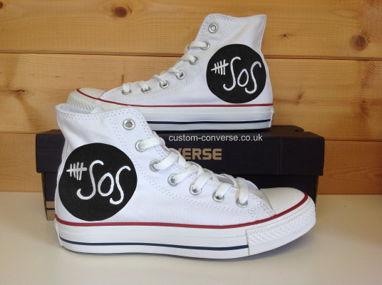5 SOS Painted Canvas Shoes High-top Painted Canvas Shoes-3