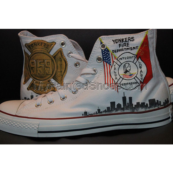 Fire fighter design Custom Converse Shoes Low Top Hand Painted C-1