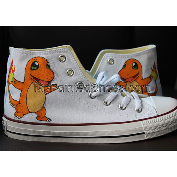 Charmander High-top Painted Canvas Shoes-1