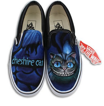 Vans Shoes Men Women Cheshire Cat Hand Painted Slip On Canvas Ca